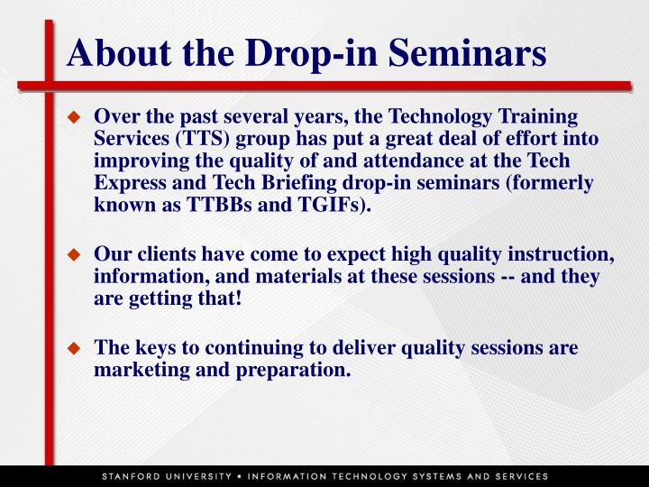 About the drop in seminars