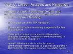 task c lesson analysis and reflection