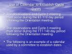 use of calendar to establish cycle dates1