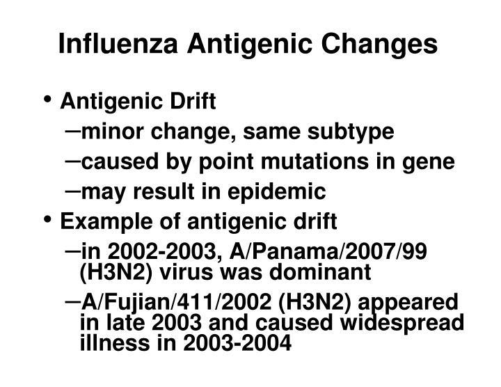 Influenza antigenic changes1
