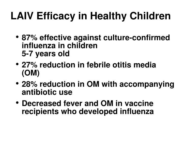 LAIV Efficacy in Healthy Children