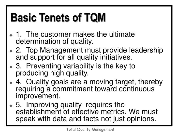 Basic Tenets of TQM
