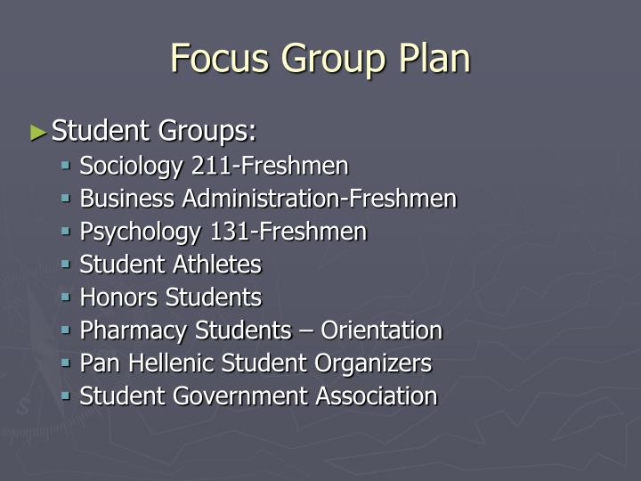 Focus Group Plan