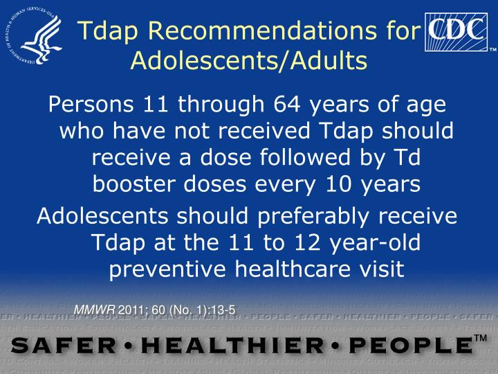 Tdap Recommendations for Adolescents/Adults