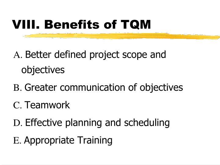 VIII. Benefits of TQM