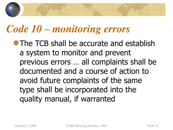 Code 10 – monitoring errors