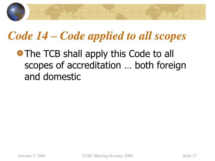 Code 14 – Code applied to all scopes