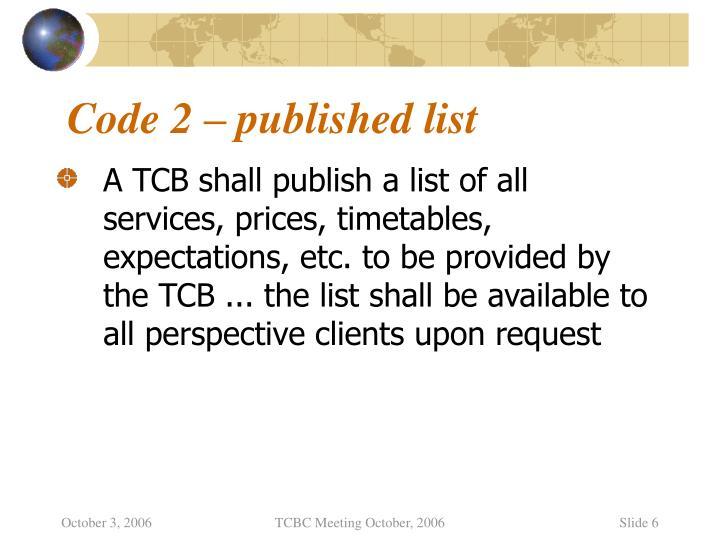 Code 2 – published list