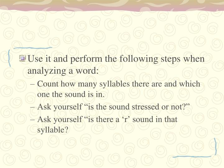 Use it and perform the following steps when analyzing a word: