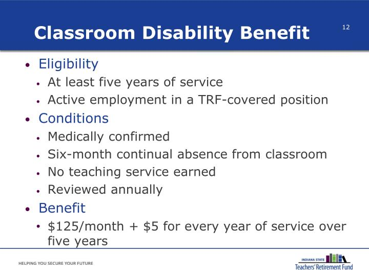 Classroom Disability Benefit