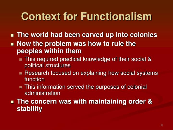 Context for functionalism