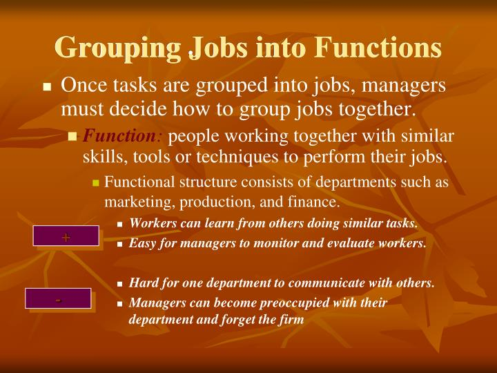 organizations group jobs and work functions into groups essay Every group is different, and so each will have slightly different terms for the roles individuals play in their organization, but below are some common terms, along with definitions and their typical functions.