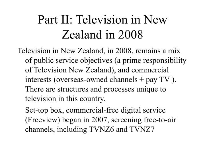 Part II: Television in New Zealand in 2008