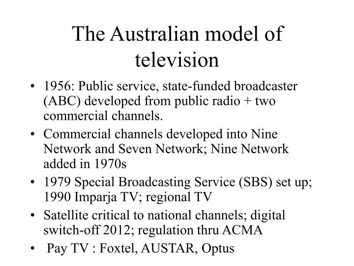 The Australian model of television