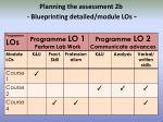 planning the assessment 2b blueprinting detailed module los
