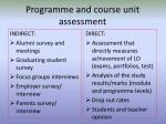 programme and course unit assessment