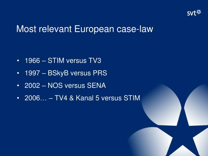 Most relevant European case-law
