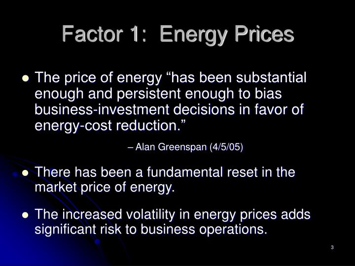 Factor 1 energy prices