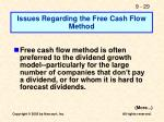 issues regarding the free cash flow method
