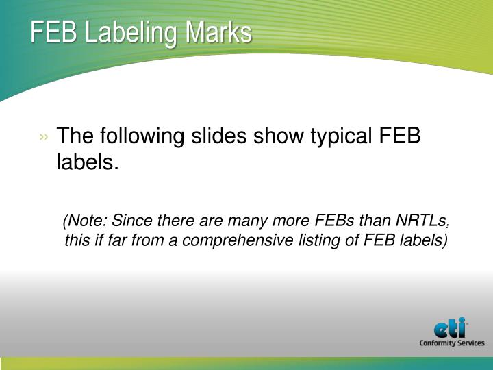 FEB Labeling Marks