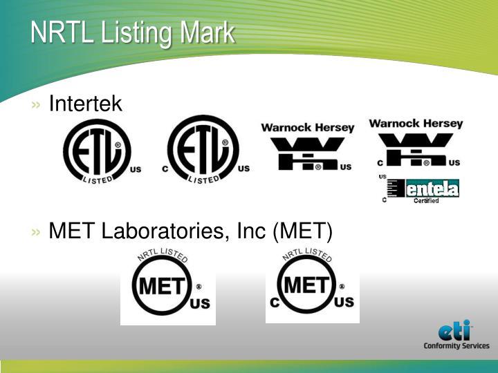 NRTL Listing Mark