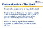 personalisation the need2