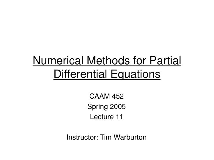 numerical methods for partial differential equations n.