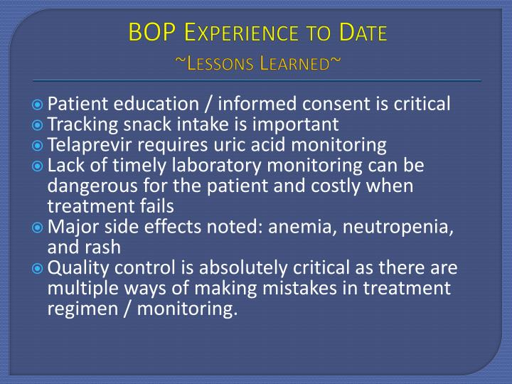 BOP Experience to Date