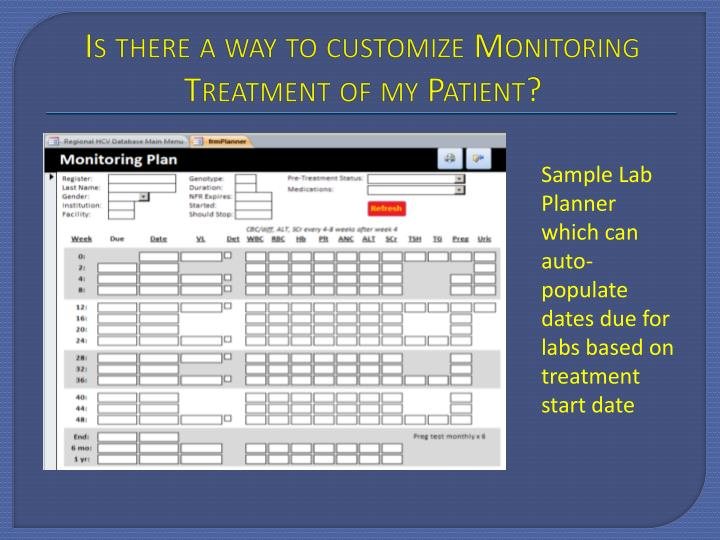 Is there a way to customize Monitoring Treatment of my Patient?