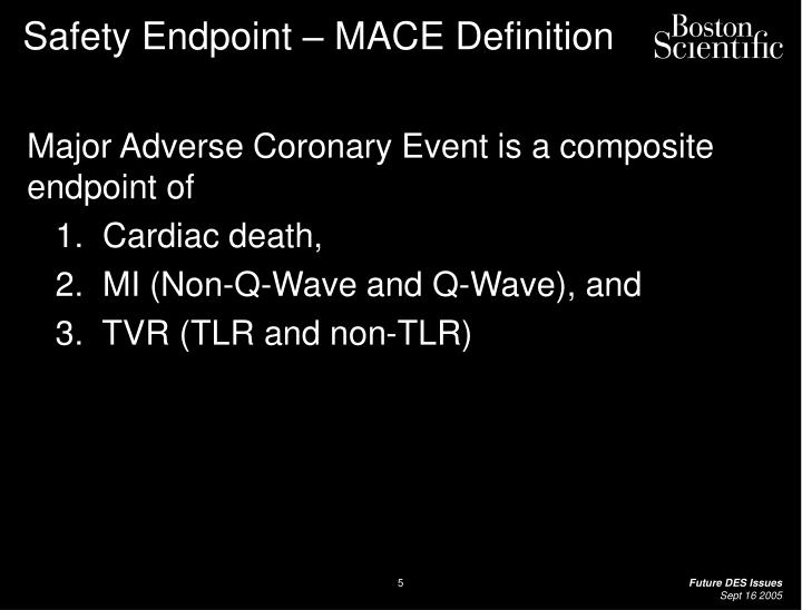 Safety Endpoint – MACE Definition