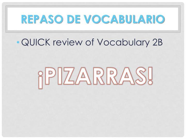 Repaso de vocabulario