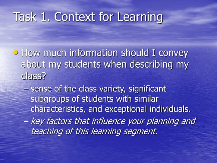 Task 1. Context for Learning