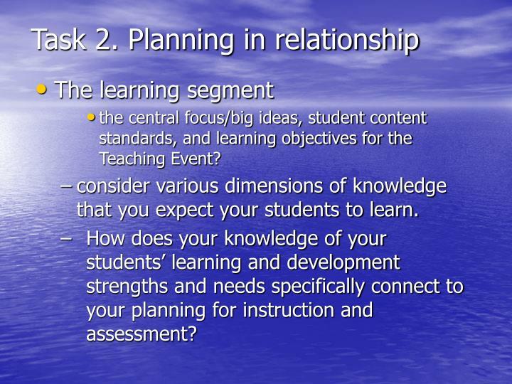 Task 2. Planning in relationship