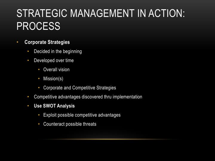 Strategic management in action process