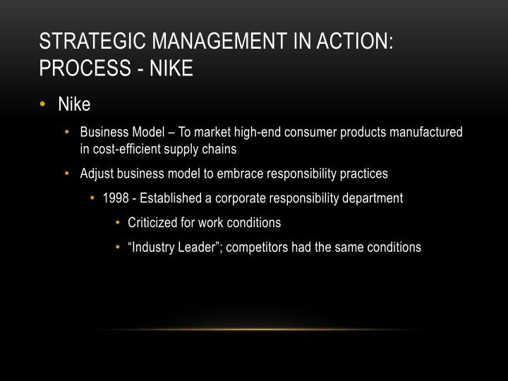 Strategic management in action process nike