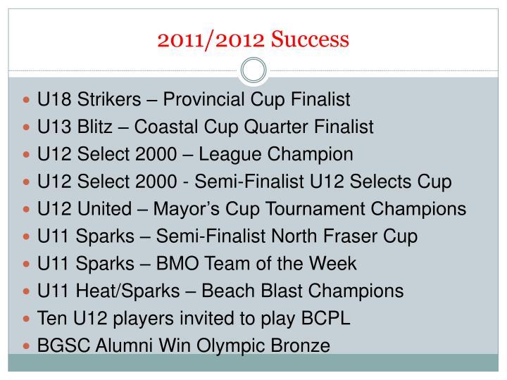 2011/2012 Success