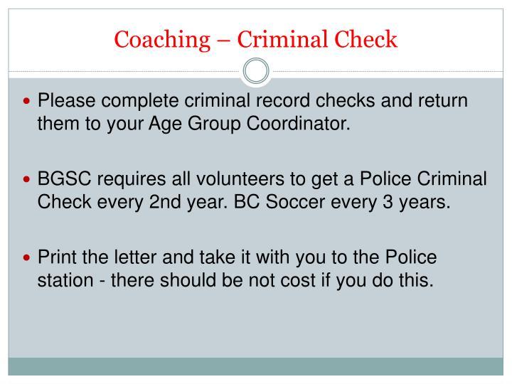 Coaching – Criminal Check