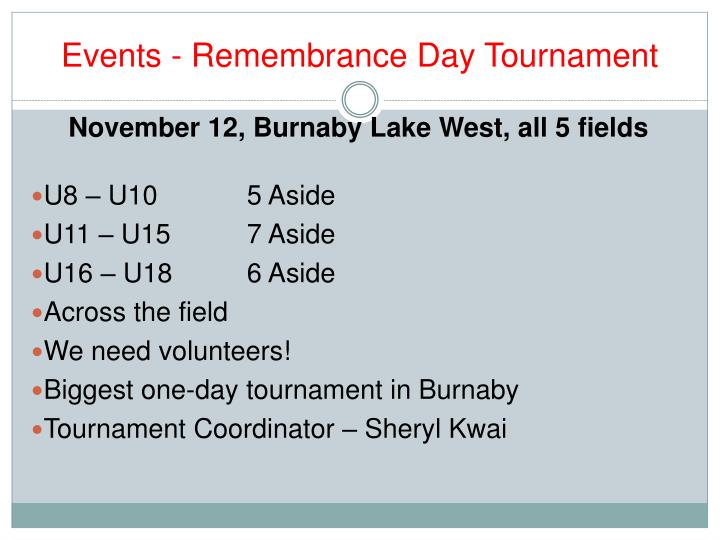 Events - Remembrance Day Tournament