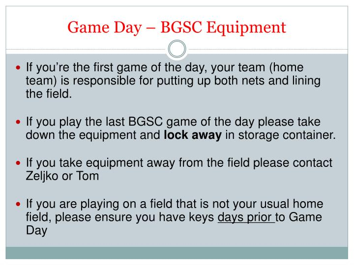 Game Day – BGSC Equipment