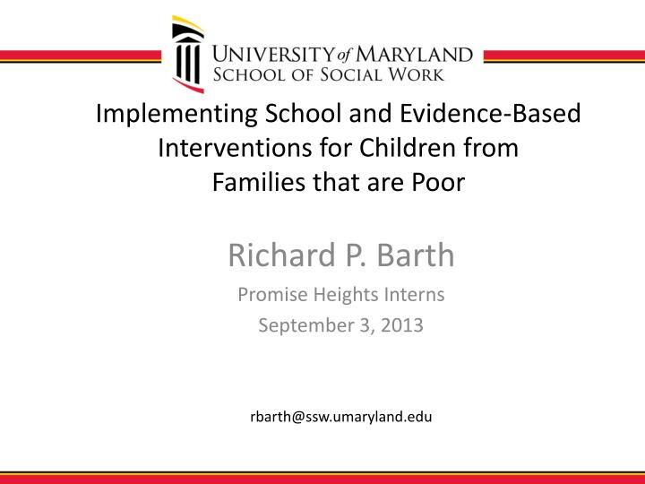 implementing school and evidence based interventions for children from families that are poor n.