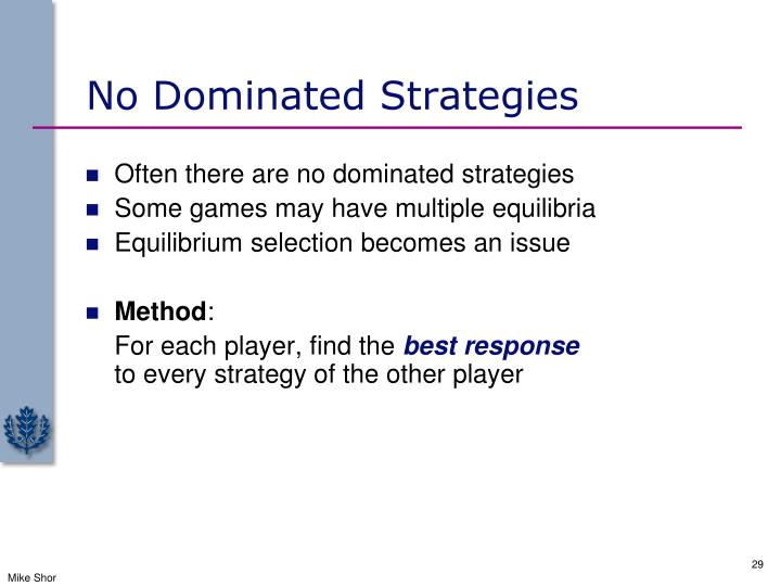 No Dominated Strategies