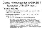clause 45 changes for 10gbase t low power utp stp cont