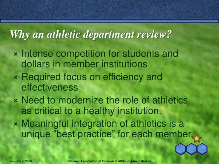 Why an athletic department review?
