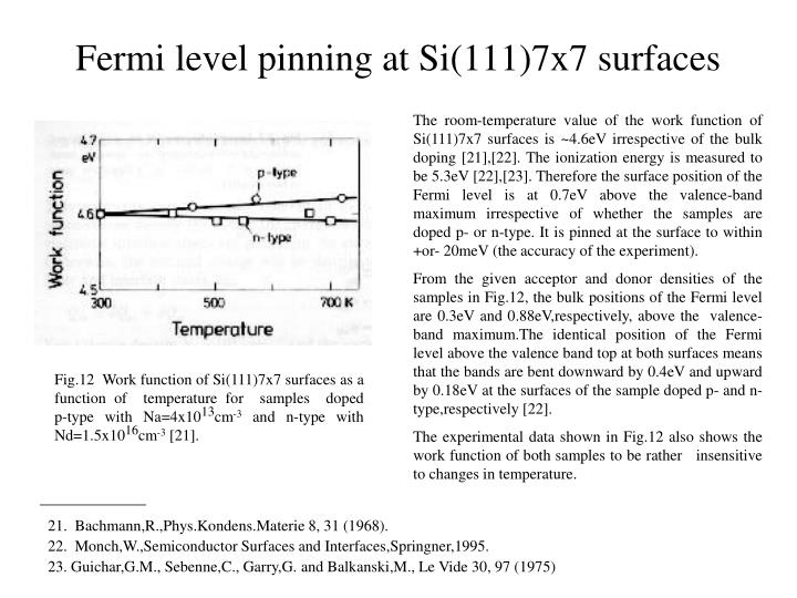 Fermi level pinning at Si(111)7x7 surfaces