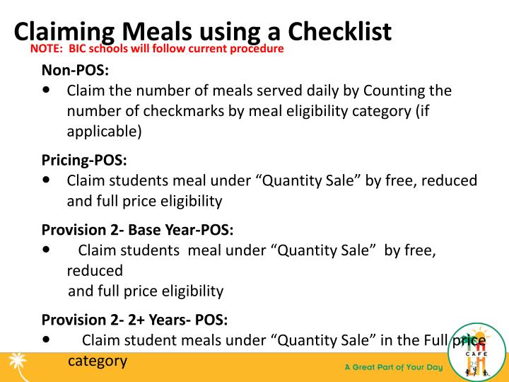 Claiming Meals using a Checklist