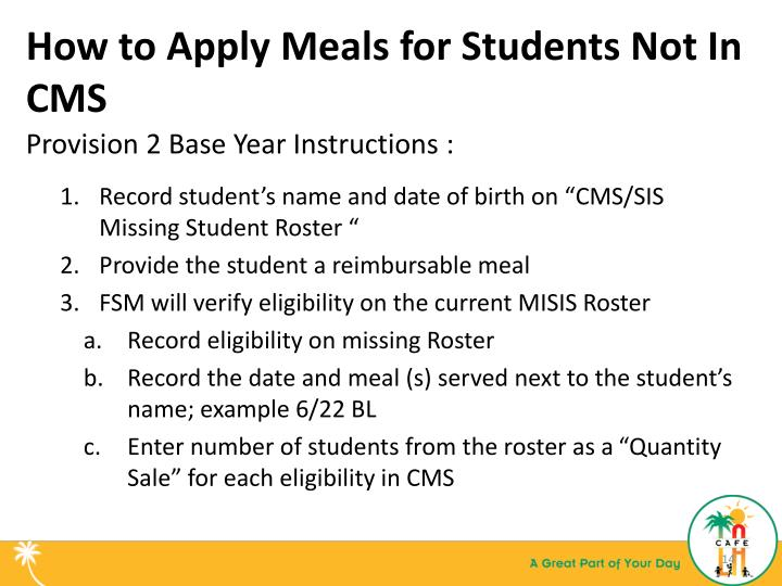 How to Apply Meals for Students Not In CMS