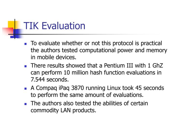 TIK Evaluation