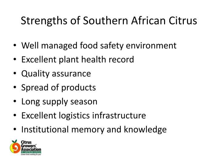 Strengths of Southern African Citrus