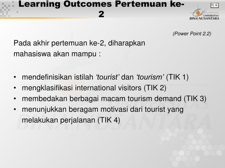 Learning outcomes pertemuan ke 2