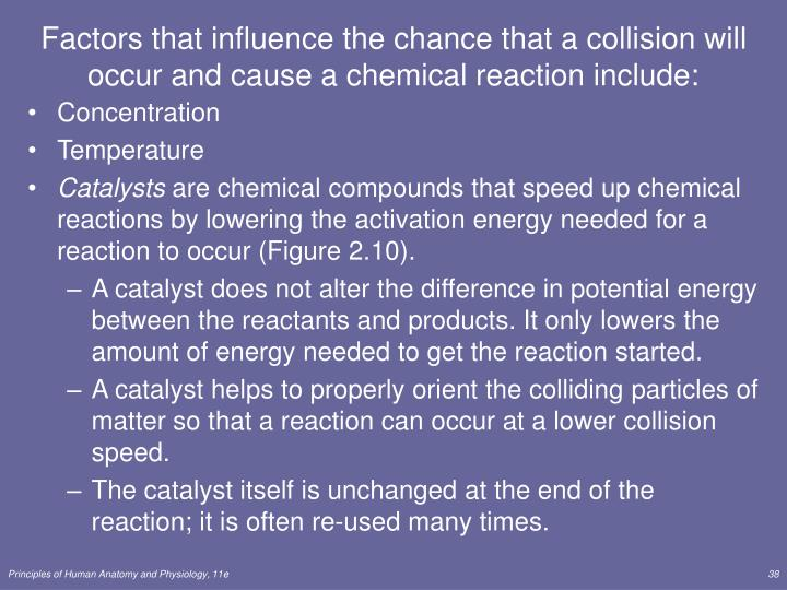 Factors that influence the chance that a collision will occur and cause a chemical reaction include: